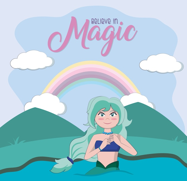 Beautiful mermaid at sea cartoons vector illustration graphic design