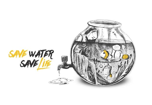 Beautiful mermaid underwater drop from water tap hand drawn sketch vector illustration