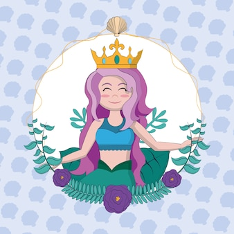 Beautiful mermaid with crown and seaweed round frame vector illustration graphic design
