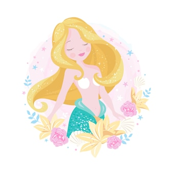 Beautiful mermaid with pink and yellow flowers.