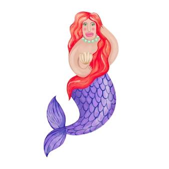 흰색 배경 handdrawn 수채화 그림에 빨간 머리를 가진 아름 다운 인어