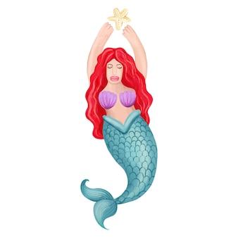 Красивая русалка с рыжими волосами на белом фоне handdrawn акварель иллюстрации