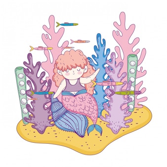 Beautiful mermaid with seaweed fairytale character