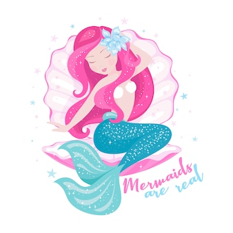 Beautiful mermaid with shell