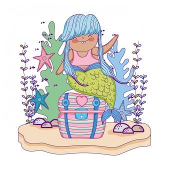 Beautiful mermaid with treasure chest and seaweed