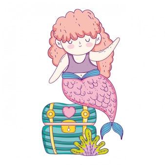 Beautiful mermaid with treasure chest