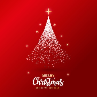 Beautiful merry christmas banner with silver particles