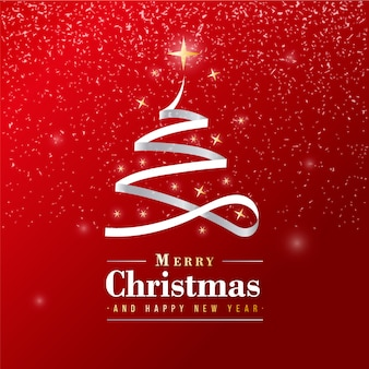 Beautiful merry christmas banner with silver ribbon