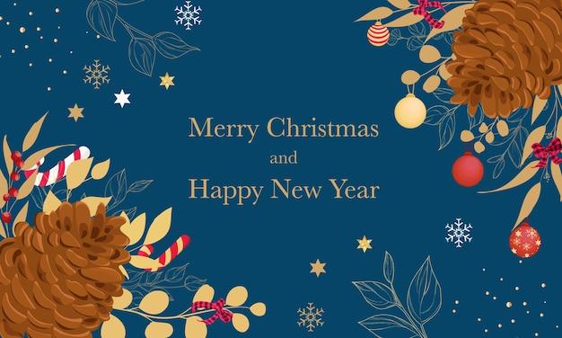 Красивая веселая рождественская открытка с золотыми листьями и рождественским орнаментом