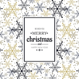 Beautiful merry christmas card with snowflake background