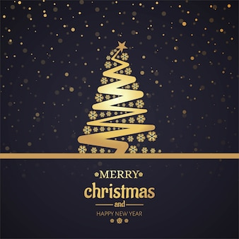 Beautiful merry christmas card with tree background