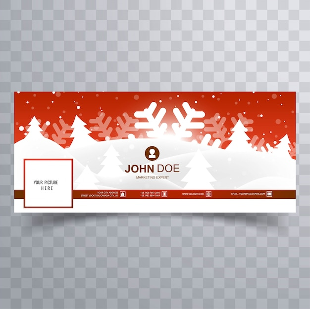 Beautiful merry christmas facebook cover template design