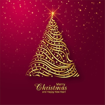 Beautiful merry christmas golden tree card background