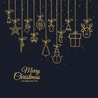 Beautiful merry christmas greeting card with celebration background