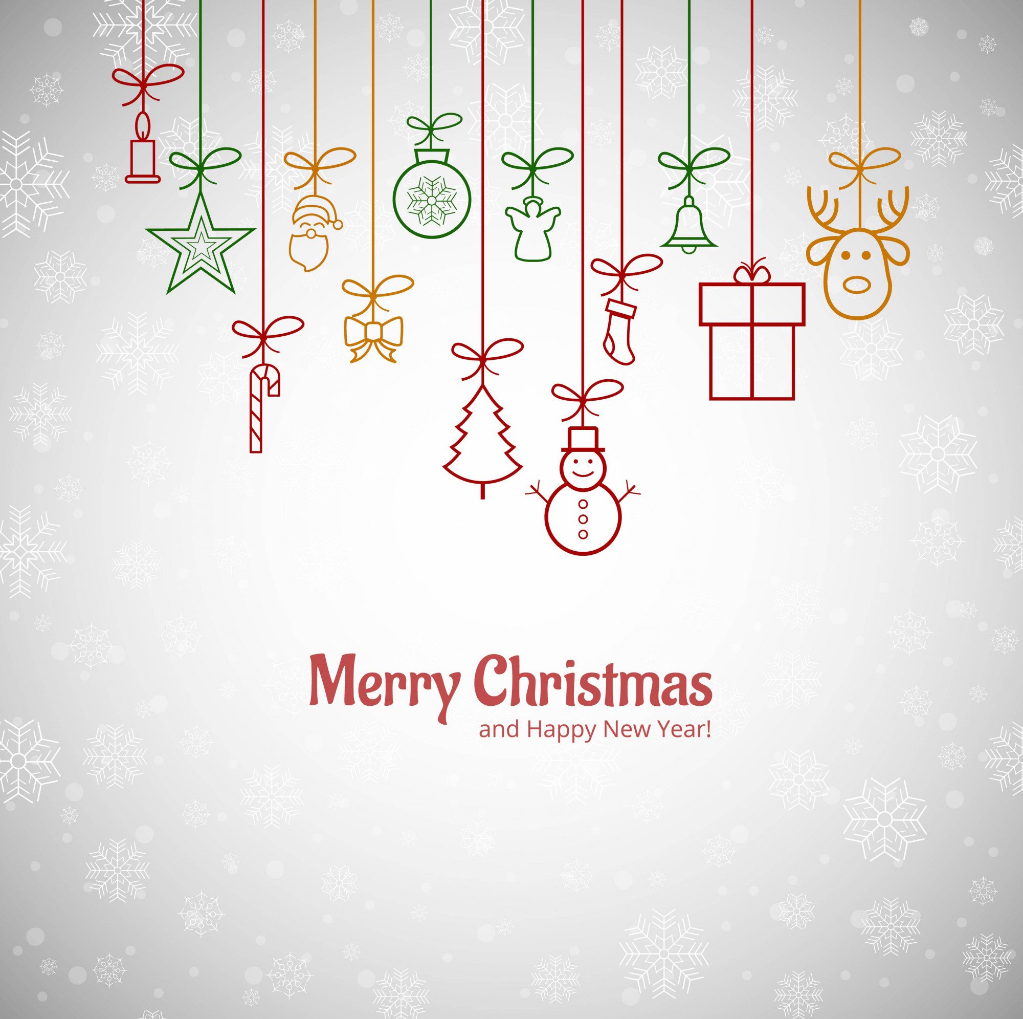 Beautiful Merry christmas greeting card with snowflakes background