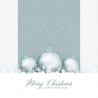 Beautiful merry christmas greeting with balls and snowflakes