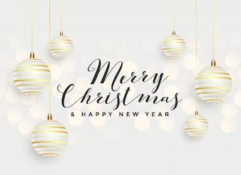 Beautiful merry christmas hanging balls background