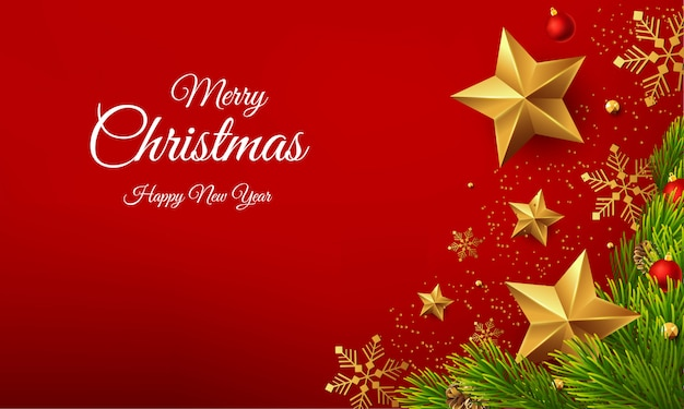 Beautiful merry christmas happy new year greeting vector