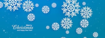 Beautiful merry christmas snowflake blue banner