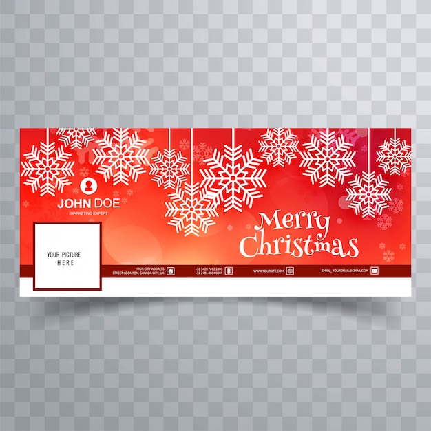 Beautiful merry christmas snowflake with facebook banner template