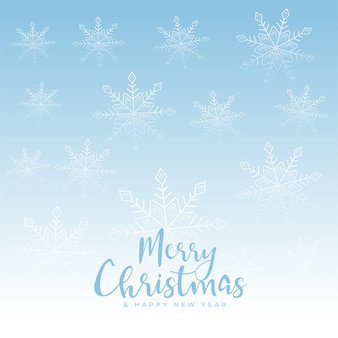 Beautiful merry christmas snowflakes blue background
