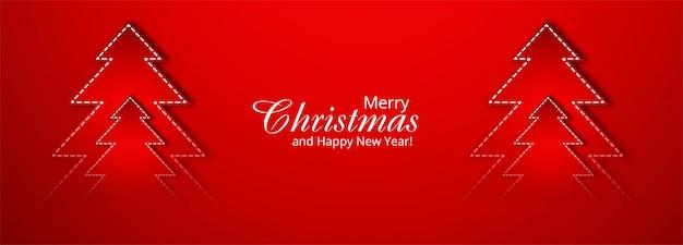 赤の美しいメリークリスマスツリーバナー 無料ベクター