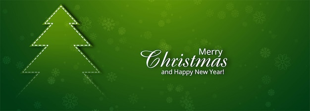 Beautiful merry christmas tree banner for green
