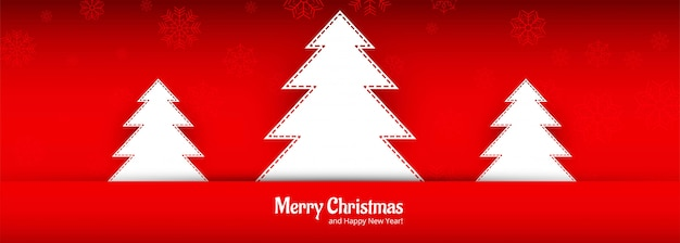 Beautiful merry christmas tree banner for red
