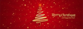 Beautiful merry christmas tree banner template design