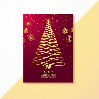 Beautiful merry christmas tree card brochure