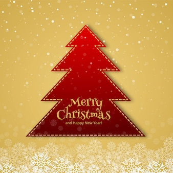 Beautiful merry christmas tree celebration card background
