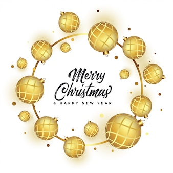 Beautiful merry christmas white greeting with golden balls