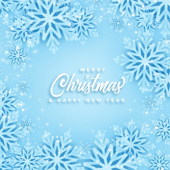 Beautiful merry christmas and winter snowflakes card design