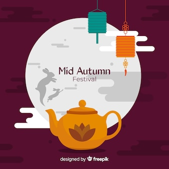 美しい中秋の祭りの背景のコンセプト
