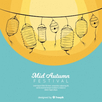 Beautiful mid autumn festival background in hand drawn style
