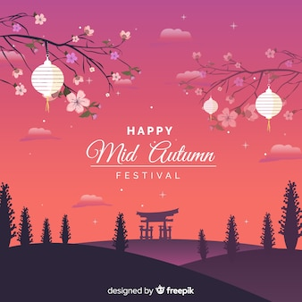 Beautiful mid autumn festival background