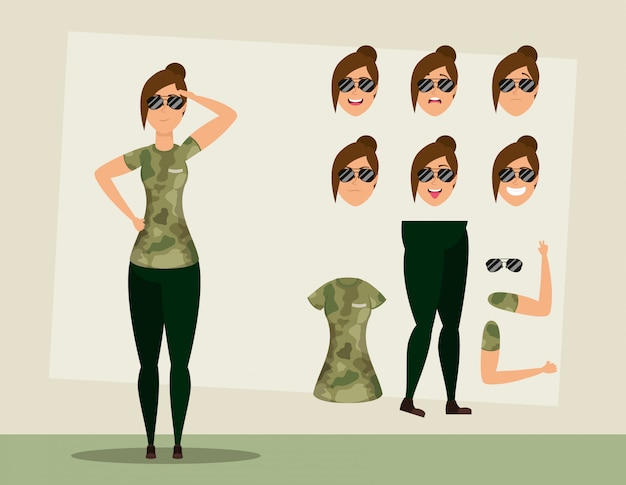 Beautiful military woman with set faces character vector illustration design
