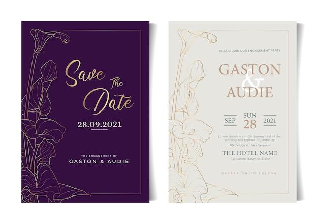 Beautiful minimalist floral flowers wedding invitation card
