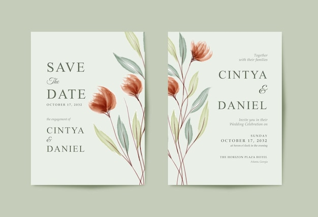 Beautiful and minimalist wedding card with floral watercolor