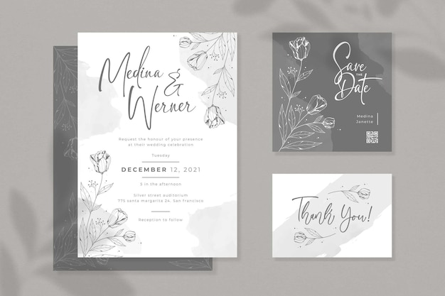Beautiful minimalist wedding invitation set