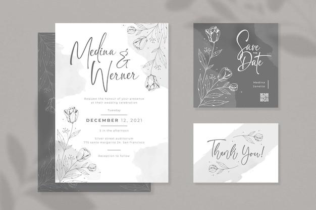Красивый минималистский набор свадебных приглашений