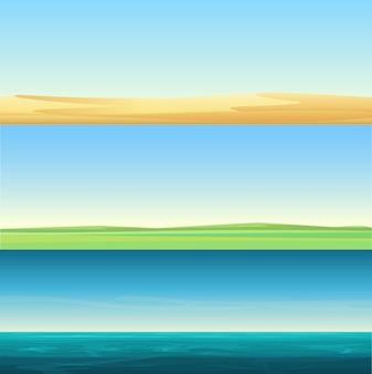 Beautiful minimalistic horizontal banners landscapes of sand desert, meadow rural field and sea ocean background set