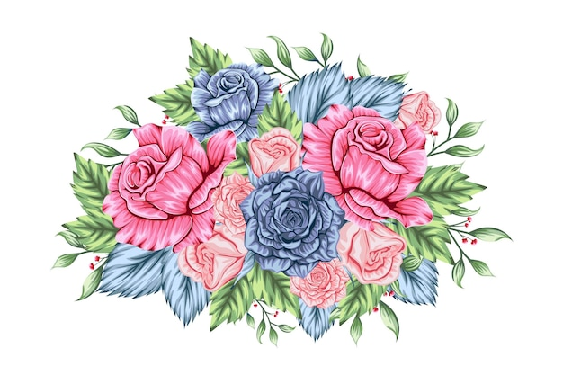 Beautiful mixed bouquet of flowers Free Vector