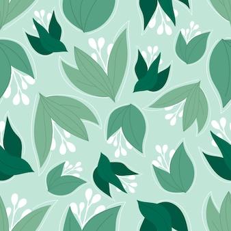 薄緑の背景に緑の葉を持つ美しいモダンな春のシームレスなパターン。葉と花の壁紙。花の背景。