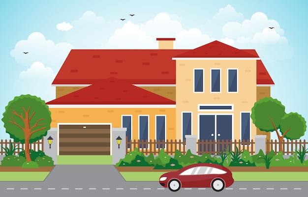 Beautiful modern house exterior facade yard residential