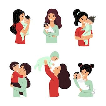 아름다운 엄마와 그녀의 아기. 만화 스타일의 벡터 캐릭터입니다.