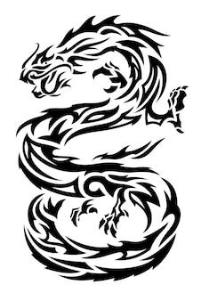 흰색 배경에 고립 된 검은 아시아 용 실루엣으로 아름 다운 단색 벡터 부족 문신 그림