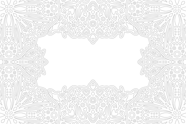 Beautiful monochrome for adult coloring book page with abstract linear border and white copy space