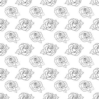 장미, 잎이 있는 아름다운 흑백 흑백 매끄러운 패턴입니다. 손으로 그린 등고선. 디자인 인사말 카드 및 결혼식, 생일, 발렌타인 데이, 어머니의 날, 휴일 초대장