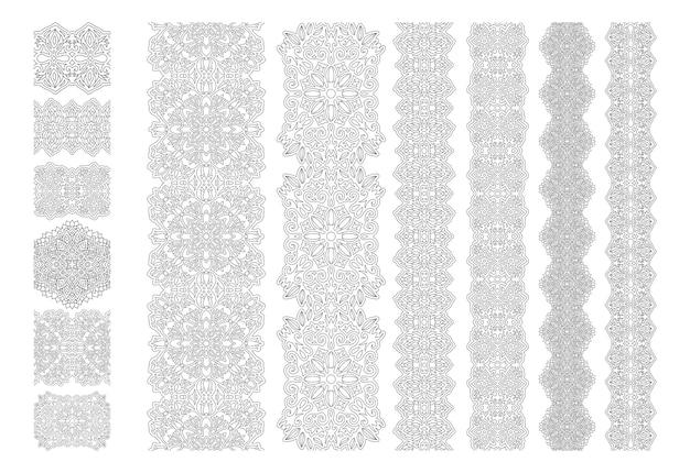 美しいモノクロカラーの線形シームレスボーダーコレクション